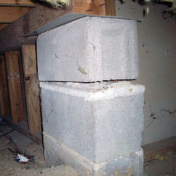 Collapsing crawl space support pillars Chester