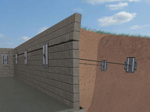 A graphic illustration of a foundation wall system installed in Laurens