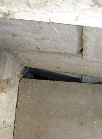 inward rotation of a foundation wall damaged by street creep in a garage in Piedmont