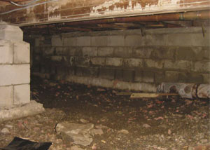 Rotting, decaying crawl space wood damaged over time in Chester