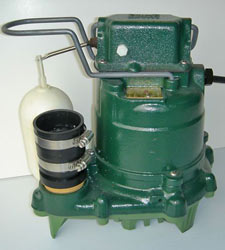 closeup of a Zoeller® sump pump system with a cast-iron design and plastic float switch