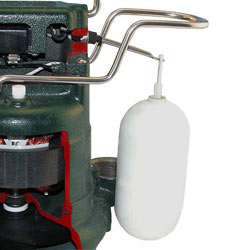 a sump pump switch closeup on a Zoeller® pump