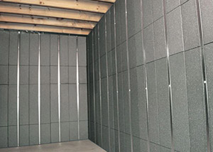 SilverGlo™ insulation and metal studs making up our Basement to Beautiful panels.  Installed in Anderson.